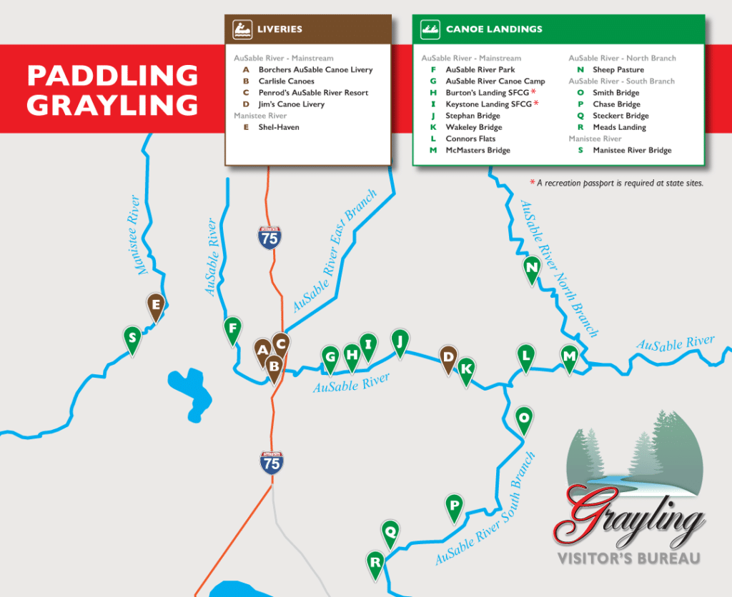 Canoe/Kayak Map of Grayling, Michigan
